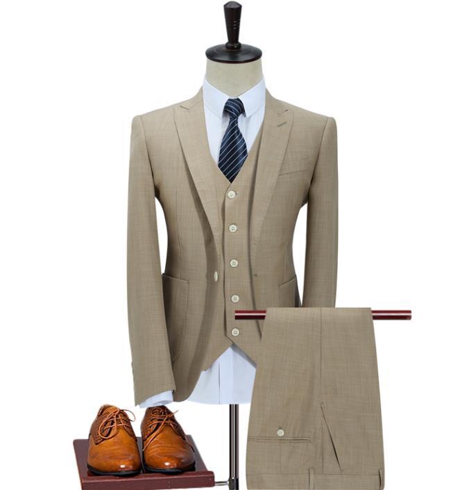 2018 Winter Big Promote Custom Slim Fit Peak Lapel Best Man Bridegroom Groom Suit  Men's Wedding Prom Suits  Three Piece Suits
