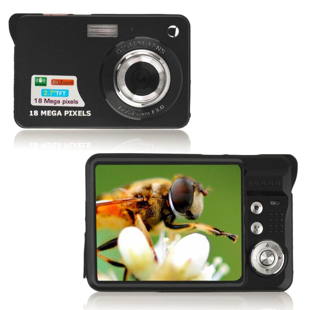 2.7 ''TFT MicroSD LCD HD 720P 18MP caméscope numérique caméra 8x Zoom Anti-secousse Photo caméscope vidéo jusqu'à 32G câble de chargeur USB