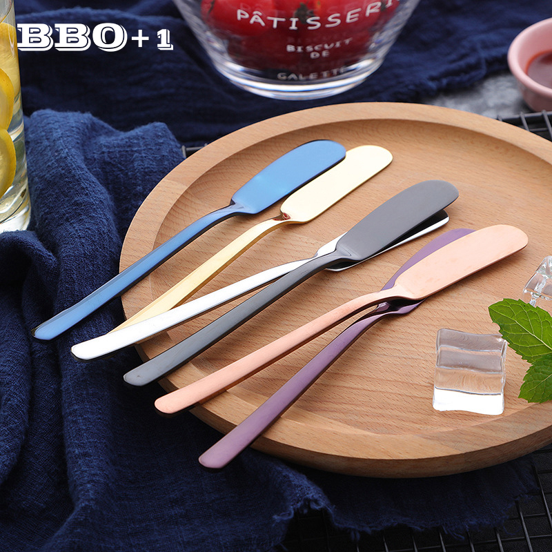Western Cutlery Stainless Steel Butter <font><b>Knife</b></font> <font><b>Cheese</b></font> Dessert Jam Spreaders Cream Gold <font><b>Black</b></font> Rose Gold Knifes Breakfast Tool image