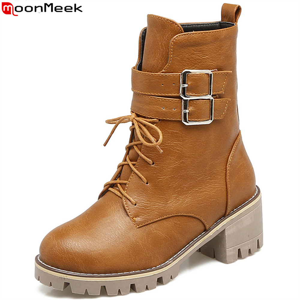 MoonMeek fashion autumn winter new arrival women shoes round toe ladies boots square heel lace up ankle boots buckle big size 2016 new arrival 15cm ladies motorcycle autumn and winter boots round toe 6 inch high heel boots sexy flock buckle boots