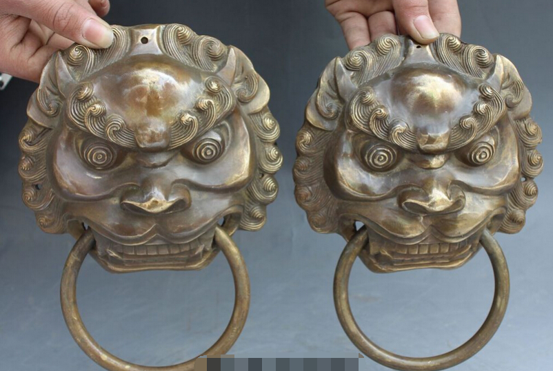 007117 8 Chinese Brass Dragon Fu Foo Dog Guardion Lion Head Mask Door Knocker Pair
