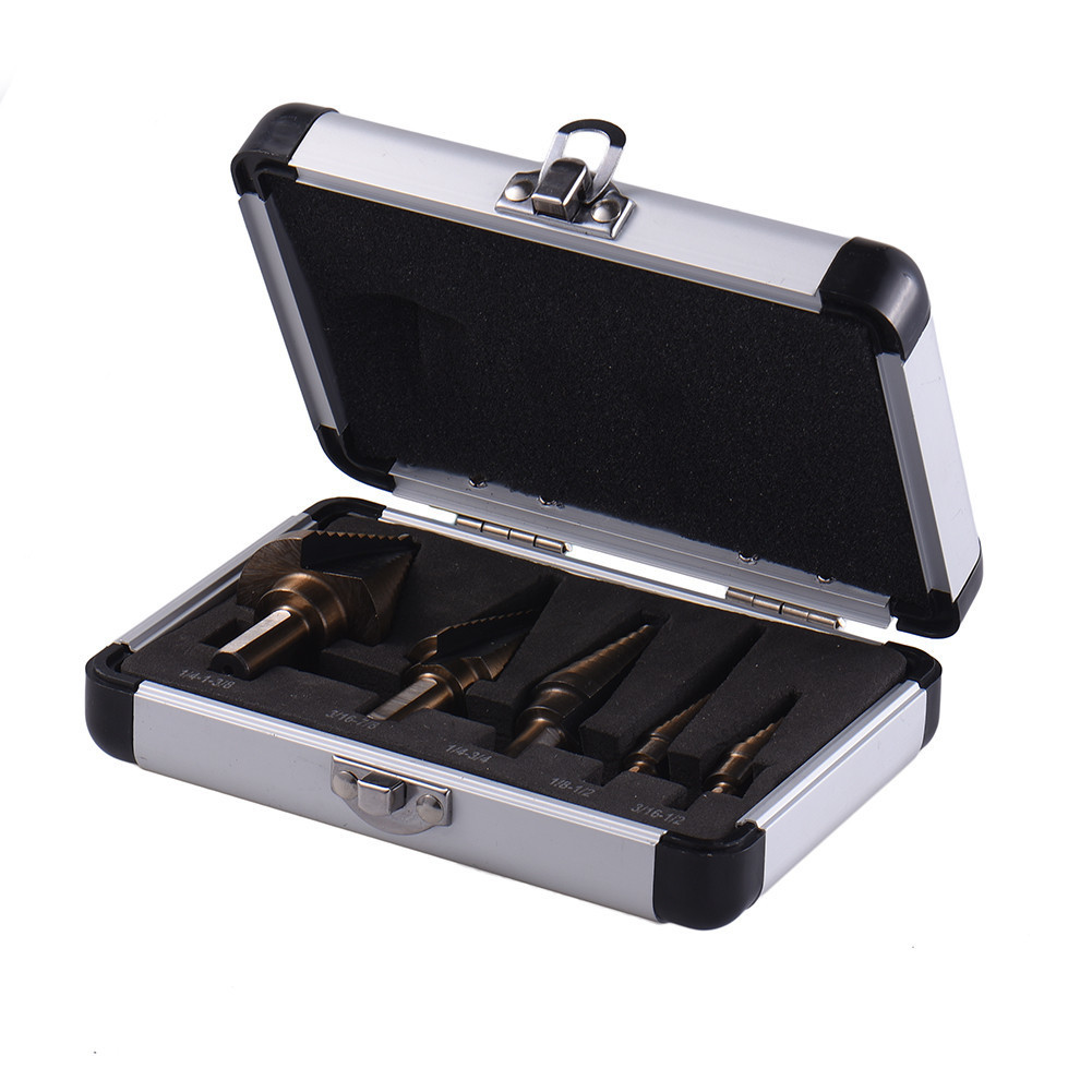 5pcs Hss Cobalt Multiple Hole 50 Sizes Step Drill Bit Set W/ Aluminum Case Sae Metal Wood Hole Cutter Step Cone Drill Bit Set jelbo 5pcs set hss cobalt multiple power tools step drill bit power tools multiple hole step drill bit set tools set metal