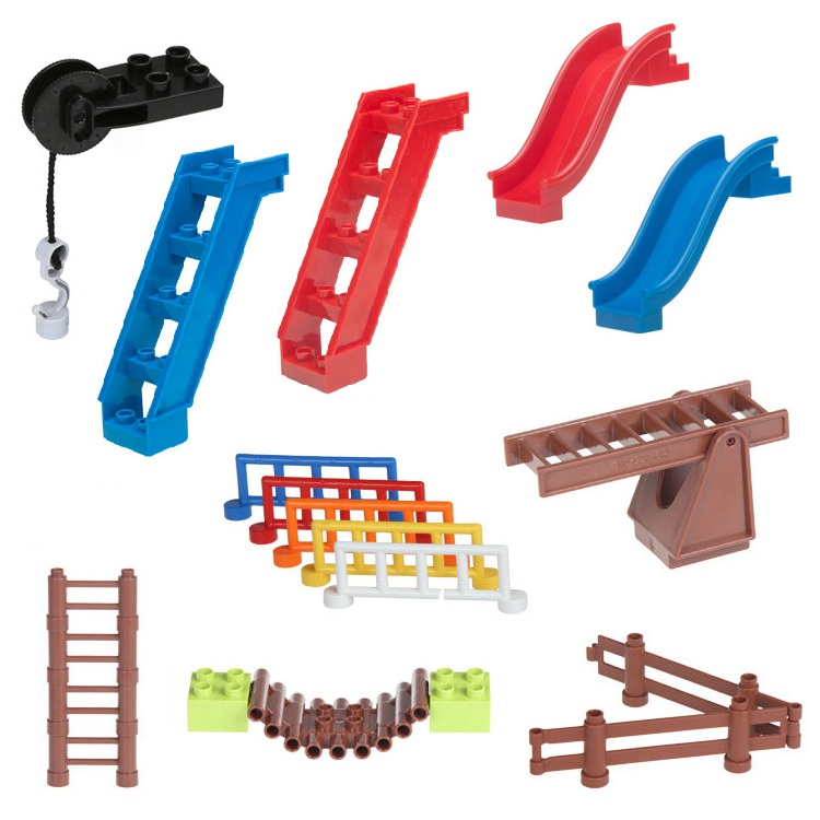 Fence Sliding ladder Cliver stairway Set Bricks Big Particles Building Blocks accessory Kids DIY Gift Toys Compatible with Duplo role family worker figure character large particle building blocks original accessory toys compatible with duplo diy kids gift