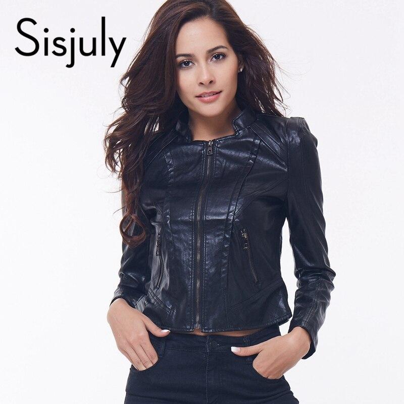 Sisjuly women coat pu leather jacket autumn winter fashion ...