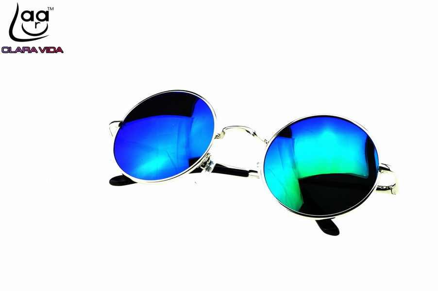 b122bed5a84 ... CLARA VIDA OZZY BLUE GREEN MIRROR LENSES ROCK STYLE RETRO 100%  POLZRIZED ROUND SUNGLASSES