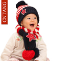 New 2016 Children's Hats And Scarf Set For Boys Girls Winter Warm Knitted Caps Kids Fashion Cute Stripe Thicken Cap 1-5 years