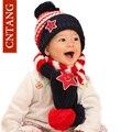 Novo 2016 Crianças Chapéus E Cachecol Conjunto Para Meninos das Meninas de Inverno Tampas de Malha quentes Crianças Moda Bonito Tarja Engrossar Cap 1-5 anos