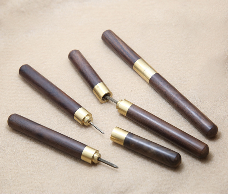 DIY Wood Handle Leather Stitching Awl Leather Tools Canvas Leathercraft Sewing Needle Kit Costura Sewing Scratch Awl 3/4/5/6mm image