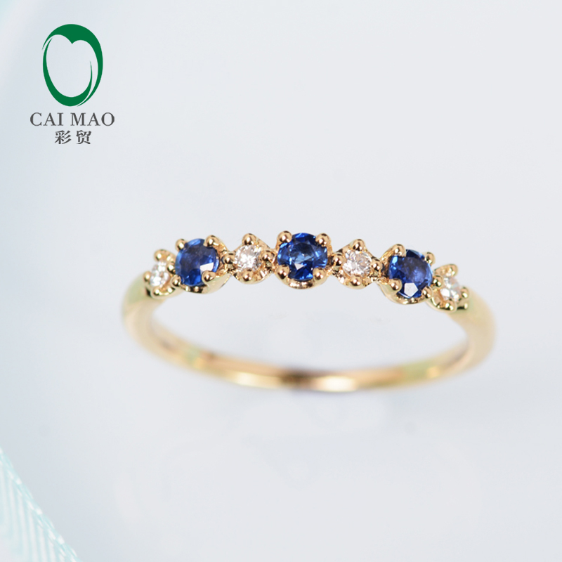 Classic 0 08ct Pave H SI Natural Diamond 0 23ct Sapphires Engagement Wedding Band Caimao Jewelry