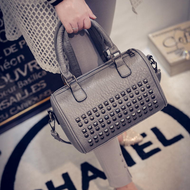 Female Bags 2016 Spring Summer Fashion Handbag Fashion BOSS Water Washed Leather Rivet Messenger Bag