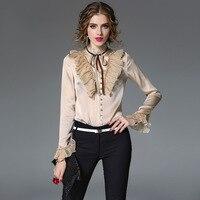 beige chiffon blouse 5xl shirts casual bohemian women's blouses and tops ladies summer haut 2019 fashion top lotus trim slim