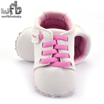 Retail First Walkers Soft Bottom Antiskid solid color soft skin fashion Baby Shoes Newborn infant Toddler image