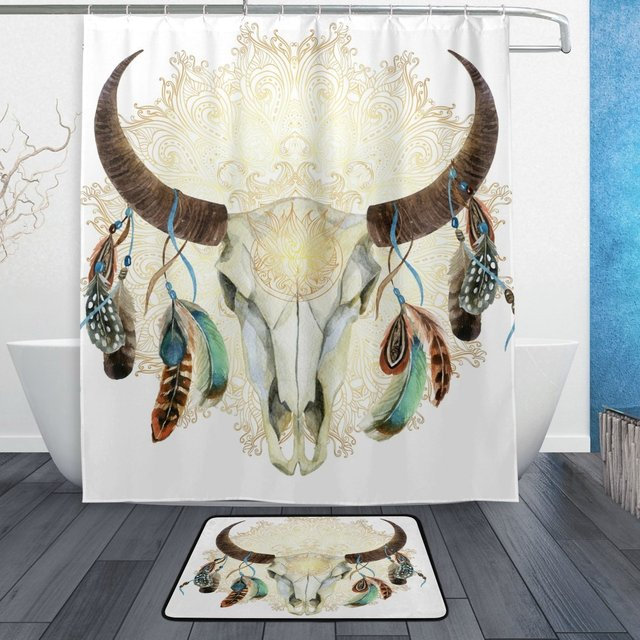 Watercolor Buffalo Animal Skull Feather Shower Curtain And Mat Set Indian Mandala Flower Waterproof Fabric