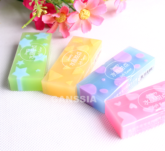 2pcs Kawaii Office Erasers Jelly Colored Soft Durable Rubber Eraser School Papelaria Material Kids Supplies (ss-1491)