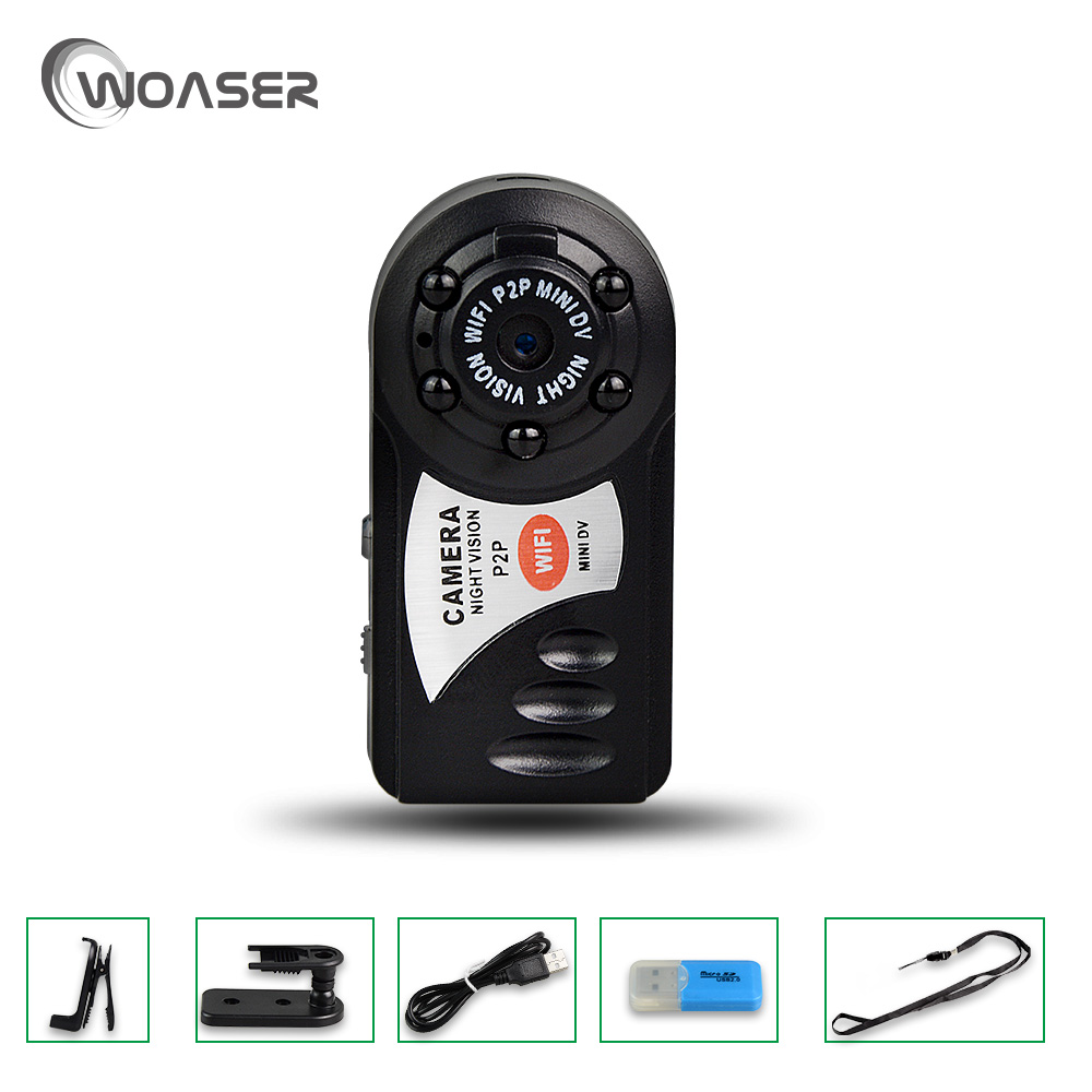 WOASER Q7 Mini Wifi DVR Wireless IP Camcorder Video Recorder Camera Infrared Night Vision Camera Motion Detection Buit- in phone portable q7 camera 480p wifi dv dvr wireless ip cam brand new video camcorder recorder infrared night vision