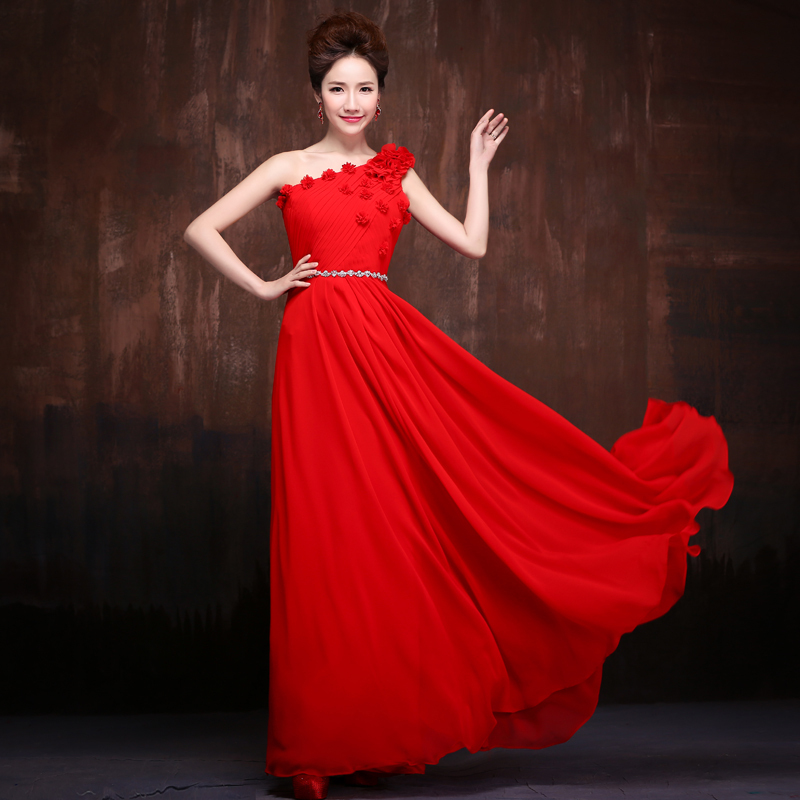 2015 Latest Design 2015 new long section of red flowers oblique shoulder prom dress toast the bride dress costumes presided Slim