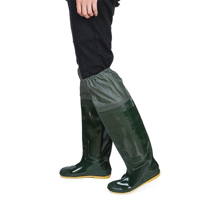 High-Jump Lightweight PVC Fishing Waders 360% Rotated Soft Sole Fishing Boot Unisex Elastic Belt PVC Overknee Waders for Fishing