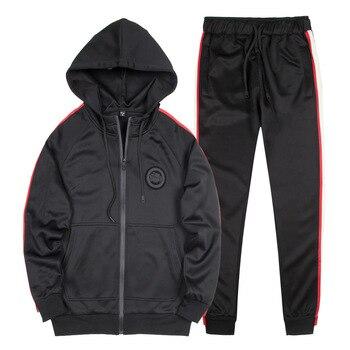 цена на AmberHeard Spring Autumn Men Sporting Suit Set Hoodies Jacket+Pants Tracksuit Two Piece Set For Men Sweatsuit Joggers Clothing