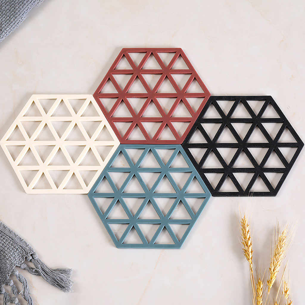 Ouneed TPR Hollow Coaster Mat Solid Multi-Layer Striped Insulation Pad Non-Slip Table Mat Tea Coaster Placemat Decoration Jun 3