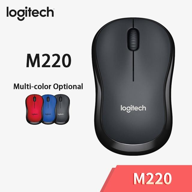 لوجيتك M220 ماوس لاسلكي صامت ماوس مع 2.4GHz عالية الجودة البصرية مريح ماوس ألعاب الكمبيوتر لماك OS/نافذة 10/8/7