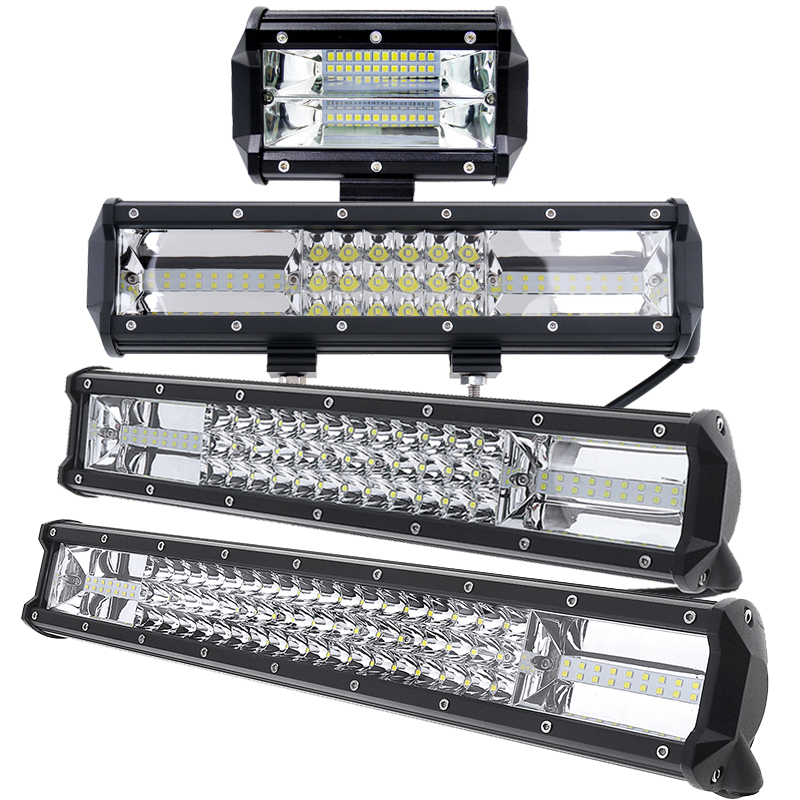 7D 5 12 16 20 Inch Auto Car LED Work Light Bar Triple Row Spot Flood