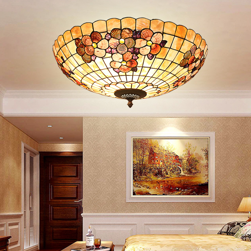 European Tiffany shell Mediterranean pastoral Ceiling Lights luminaria teto Ceiling Lamps For Home Decoration 16/20/24inch