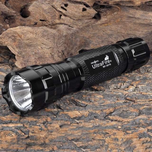 US $7 91 15% OFF|Ultrafire 501B LED Flashlight 18650 Battery Flashlight  Hunting Searchlight Torch Lantern Luz Flash Portable + Gift USB Night  Lig-in