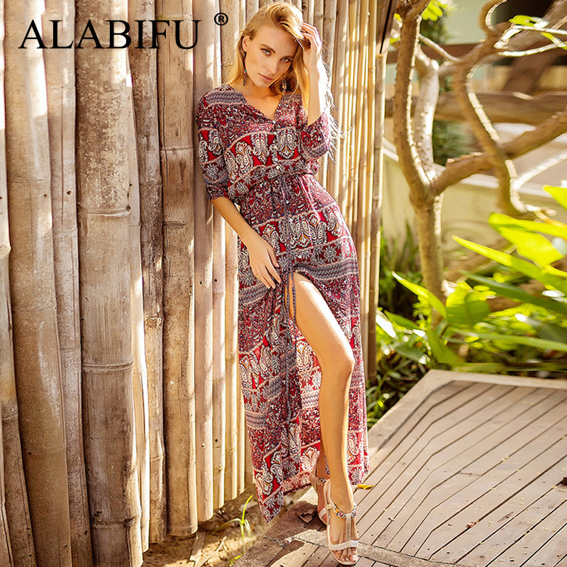 ALABIFU Sexy Bohemian Beach Dress 2019 Red Plus Size 3XL Print Floral  Summer Dress Elegant Long Party Dress ukraine Longue Femme 172c4aaa2c19