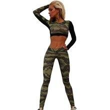 Summer Sport Suit Women Tracksuit Camouflage Short Tops Shirt + Long Pants Costume Set Comprehensive Training Set