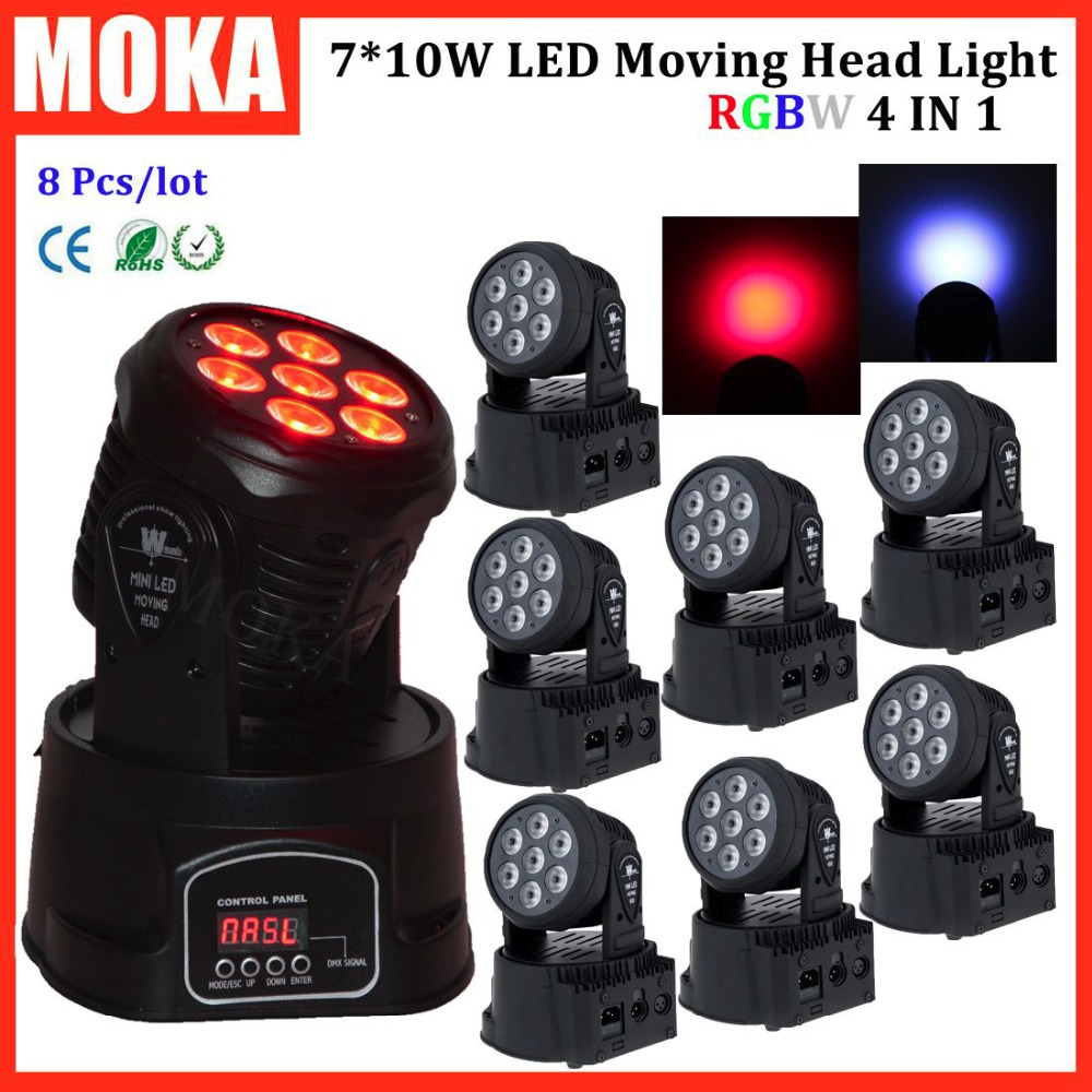 8 Pcs/lot moving head beam dj light fixtures 7*10W RGBW 4in1 full color christmas lights for garden decoration 6pcs lot good quality 7 12w mini rgbw led moving head light laser christmas party lights 12 months warranty