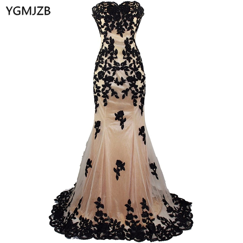 Robe De Soiree Ling Prom   Dresses   2018 Mermaid Sweetheart Black Appliques Lace Tulle Formal   Evening     Dresses   Special Occasion Gown