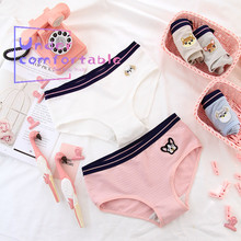 Women Underwear Brief Lovely French Bulldog Embroidery Freshness Solid Female Cotton Panties Mid-Rise Girl Intimates freshness wallet