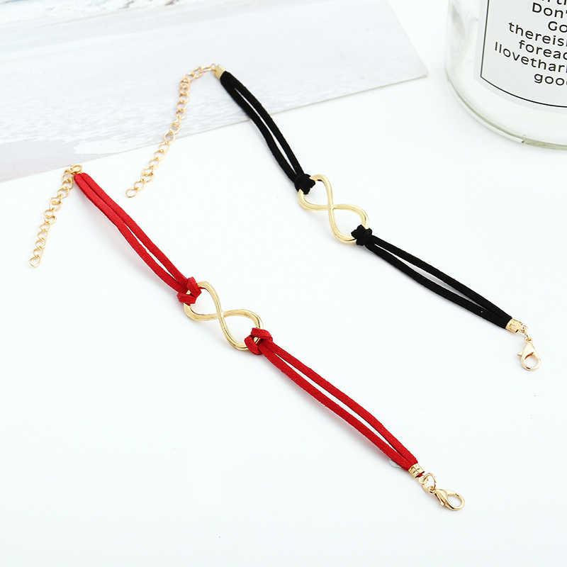 CHENFAN תכשיטי תכשיטים מלאכותיים תכשיטי אדום מזל מספר 8 ארוג קשר צמיד נשים קאף צמיד צמיד