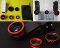 3in1 Lente Da Câmera Universal Kits-Wide Angle Fish Eye & Macro lente para iphone 6 smartphones sony xperia z z1 z2 z3/para htc um
