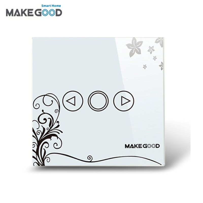 MakeGood UK Standard 1 Gang 1 Way Crystal Glass Panel Touch Switch AC 110-250V Wall Dimmer Switch+LED Indicator for Smart Home makegood uk standard 2 gang 1 way smart touch switch crystal glass panel wall switch ac 110 250v 1000w for light led indicator