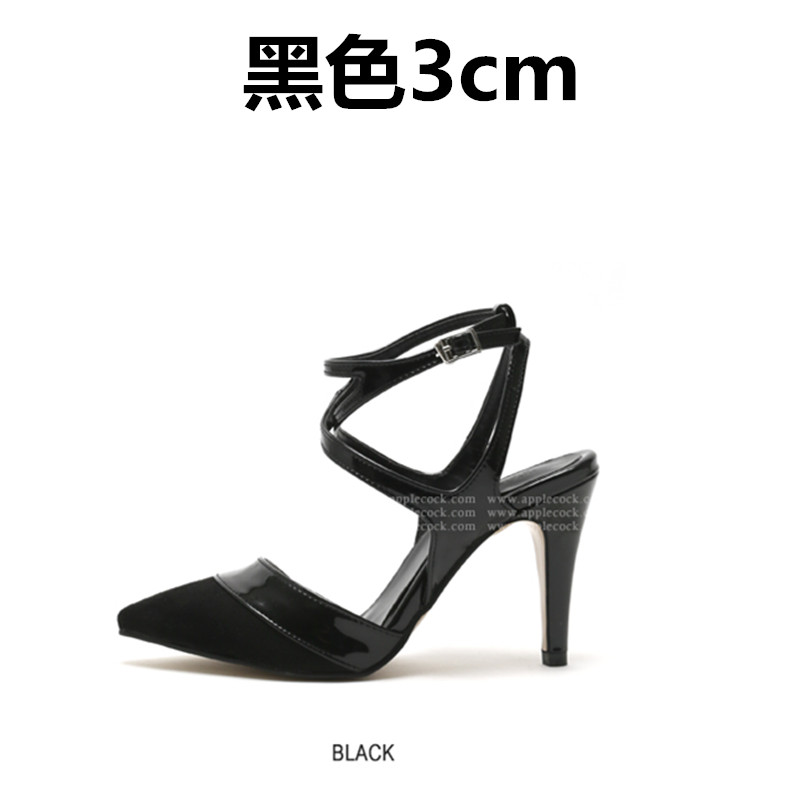 ФОТО High thin heels strap toe cap covering sandals female color block decoration small 30 31 32 33 plus size 41 42 43 free shipping