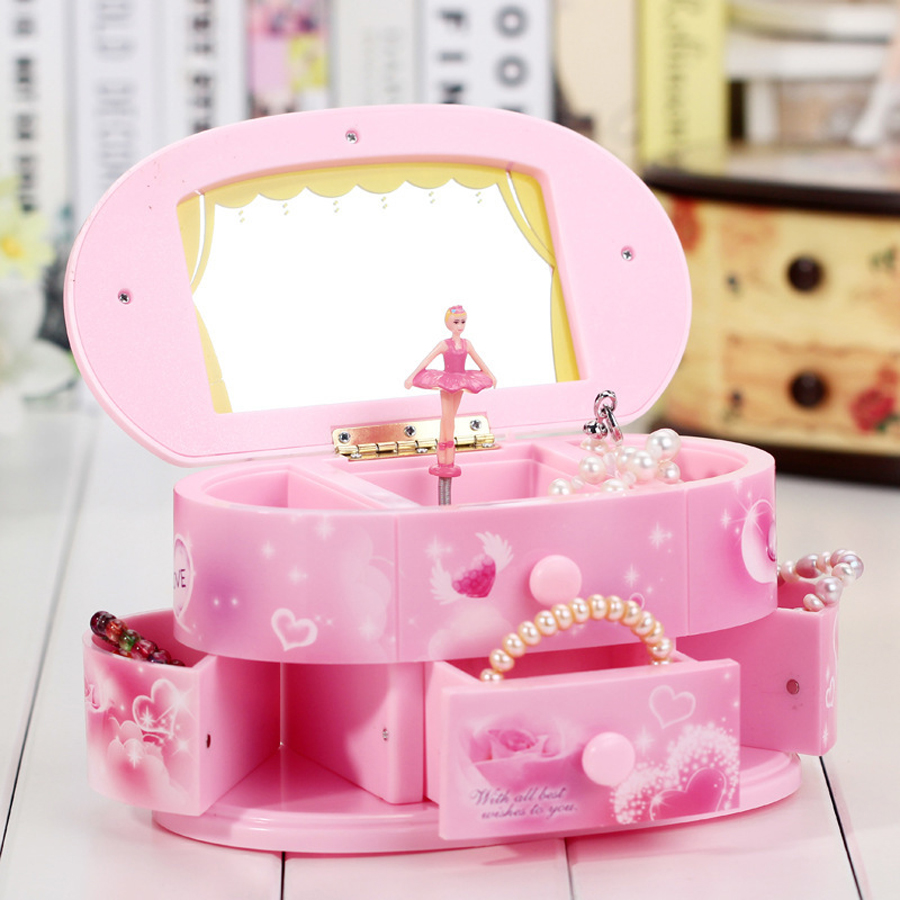 Hot sale Creative dressing table pink rotating eight music box children 's vanity mirror jewelry box music box gifts