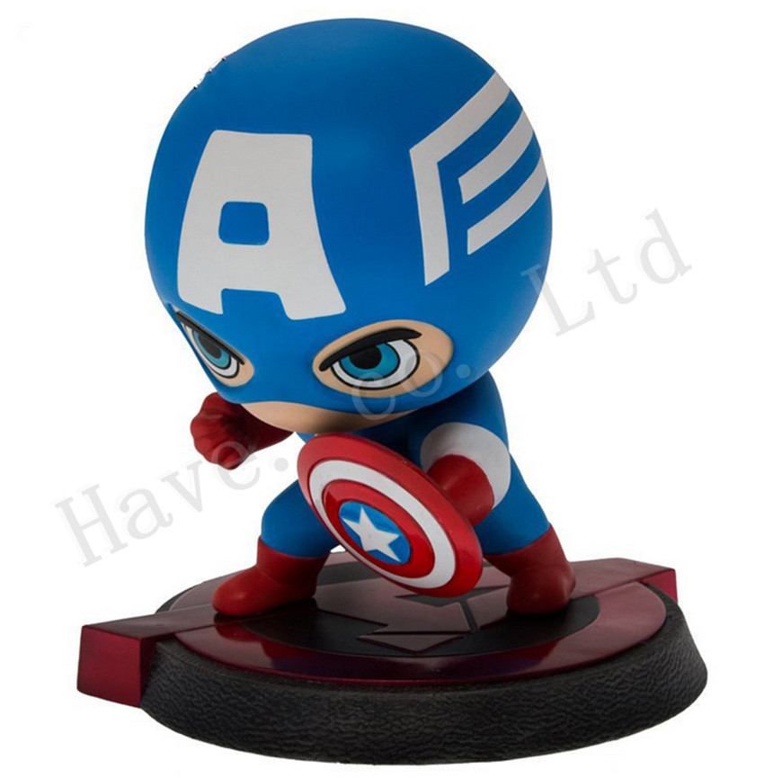 ФОТО Marvel's The Avengers Captain America Q Version 5'' PVC New Box Complete Figure