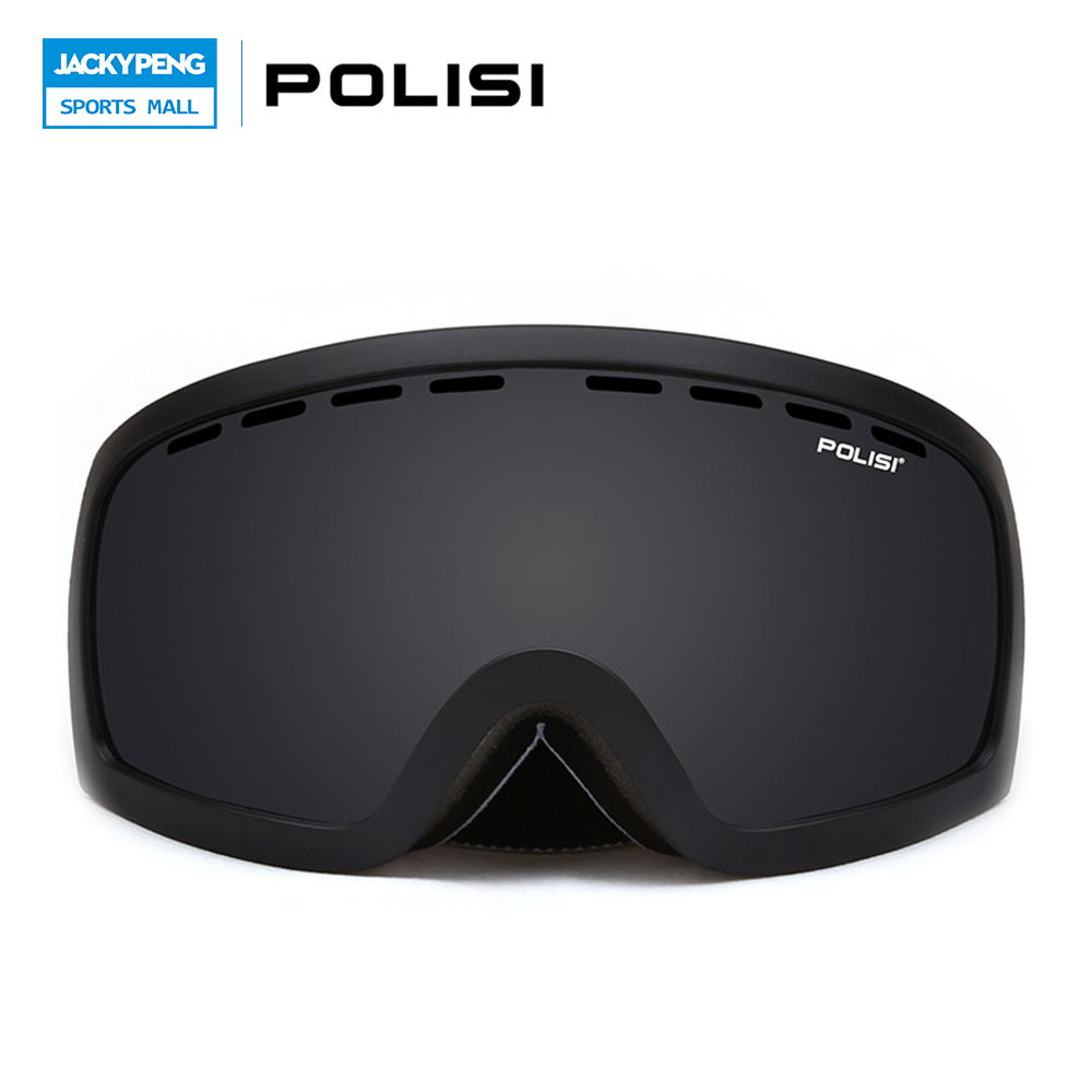 POLISI Winter Anti-Fog Snowmobile Goggles UV400 Double Layer Anti-Fog Gray Lens Snow Skiing Glasses Snowboard Protective Eyewear polisi brand new designed anti fog cycling glasses sports eyewear polarized glasses bicycle goggles bike sunglasses 5 lenses
