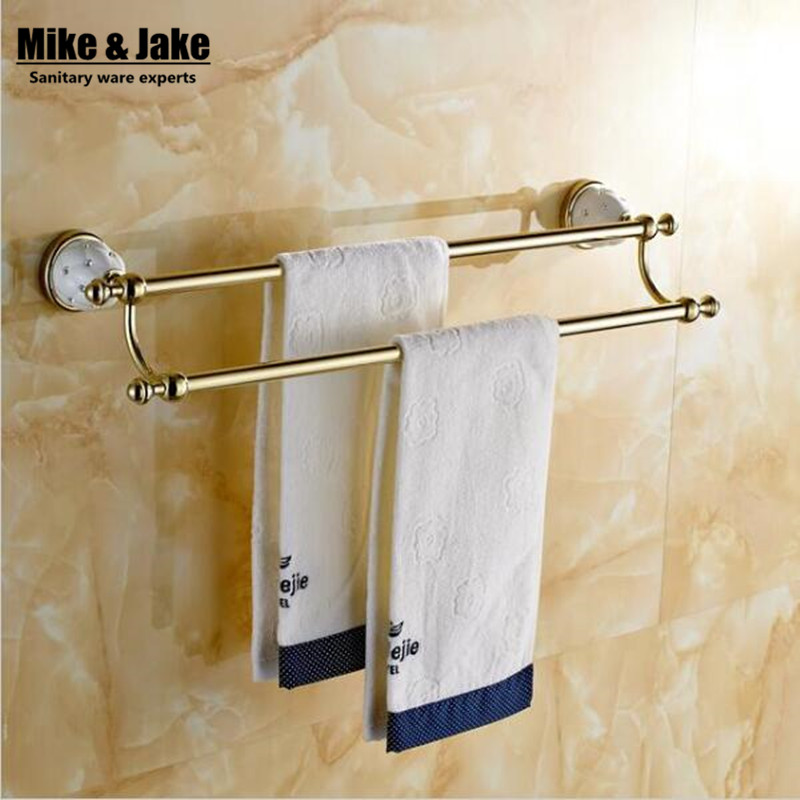 (60cm) Double Towel Bar,Towel Holder,Solid Brass Made,Gold Finished,Bath Products,Bathroom Accessories free shipping 60cm double towel bar brief towel holder solid brass made gold finished bath products bathroom accessories