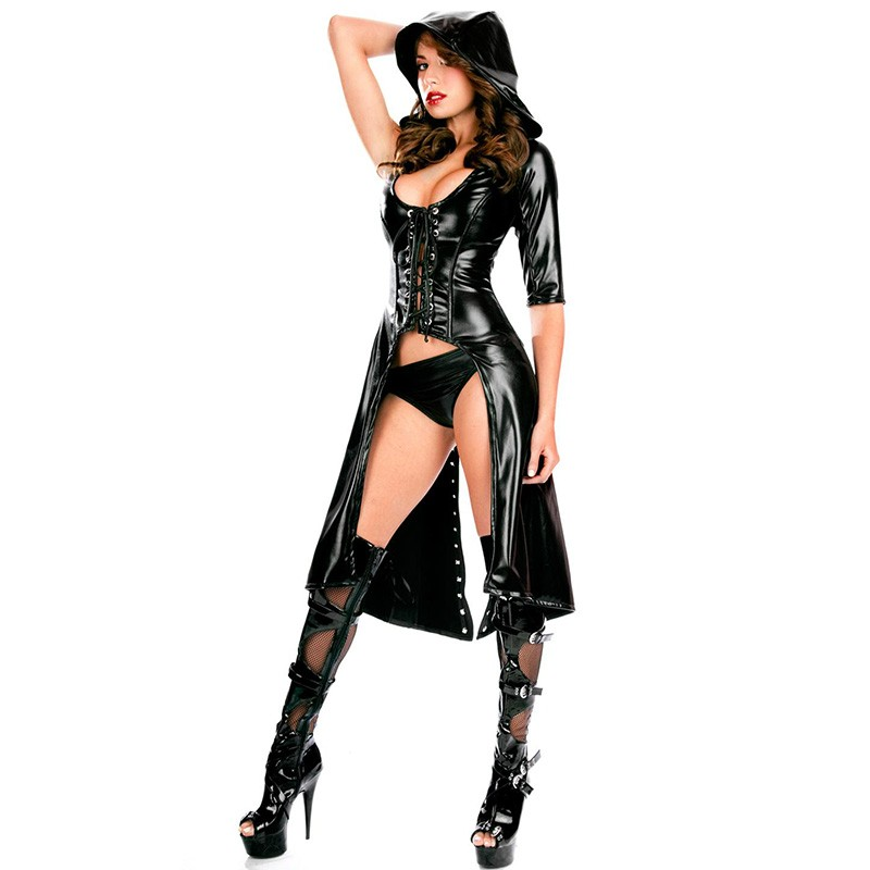 New Arrival Sexy Gothic Punk Fetish Black Latex Catsuit Faux Leather Pirate Halloween Role Play Costume Jumpsuit 84402