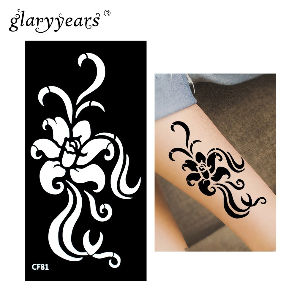 Glaryyears Henna Tattoo Stencil Flower Pattern Paste Drawing Lady Small Body Art Tattoo Stencil Sexy Product Waterproof HN-CF81