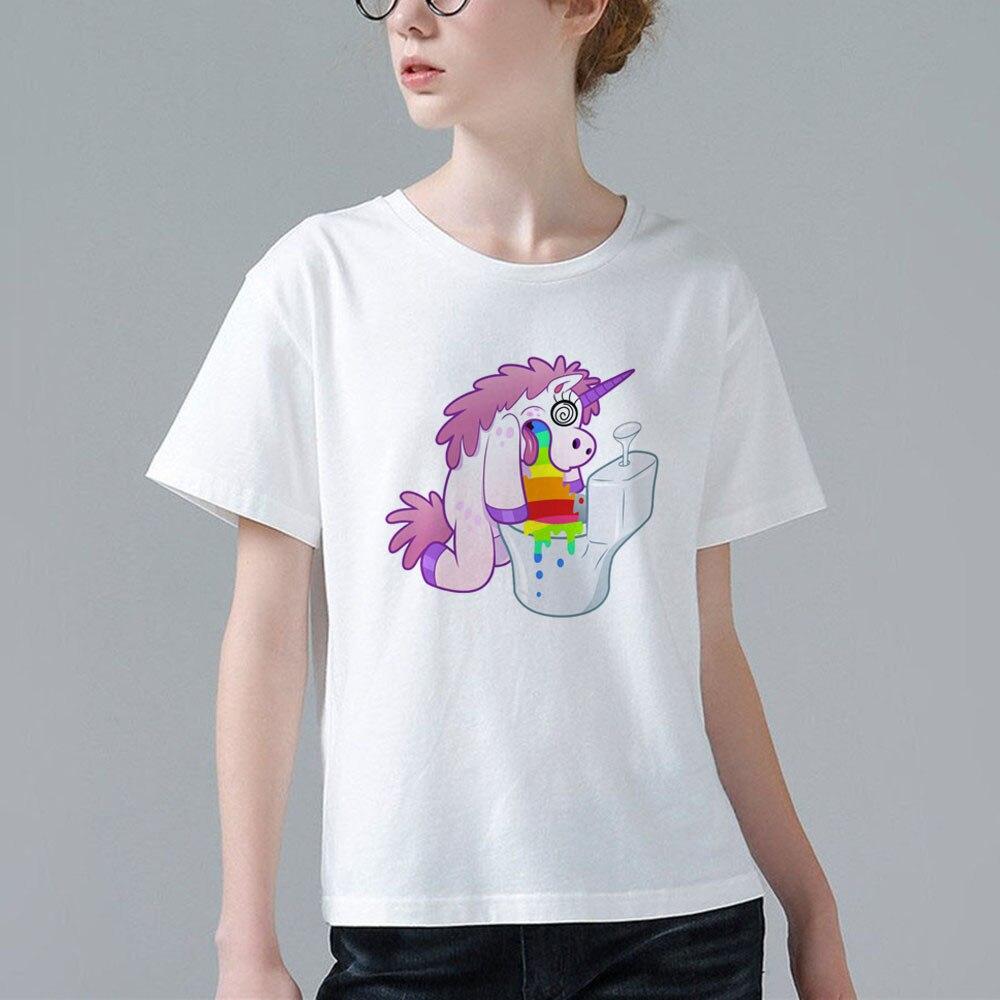 2017 Funny Women T Shirt Cartoon Anime Vomiting Unicorn Design Tees Tops Female Girl -4602