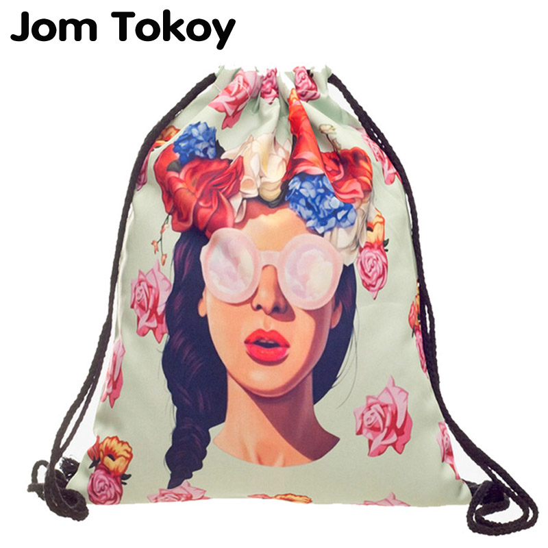 Characters New fashion Women drawstring Backpack 3D printing travel softback women mochila drawstring bag