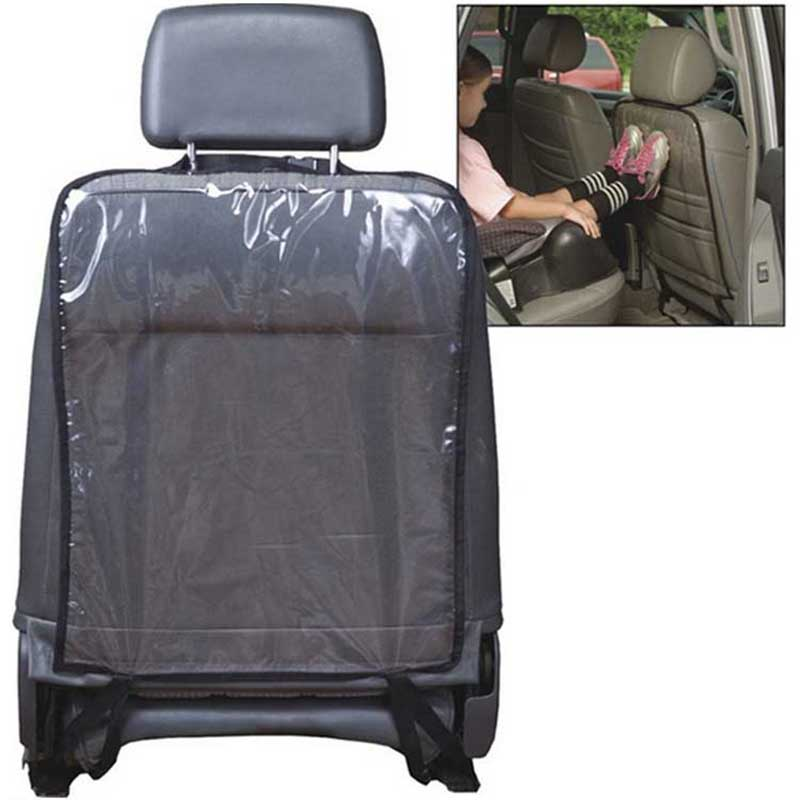 1pc Car Auto Seat Back Protector Cover Waterproof PVC Transparent Car-covers For Children Kick Mat Mud Clean Black 58*44cm