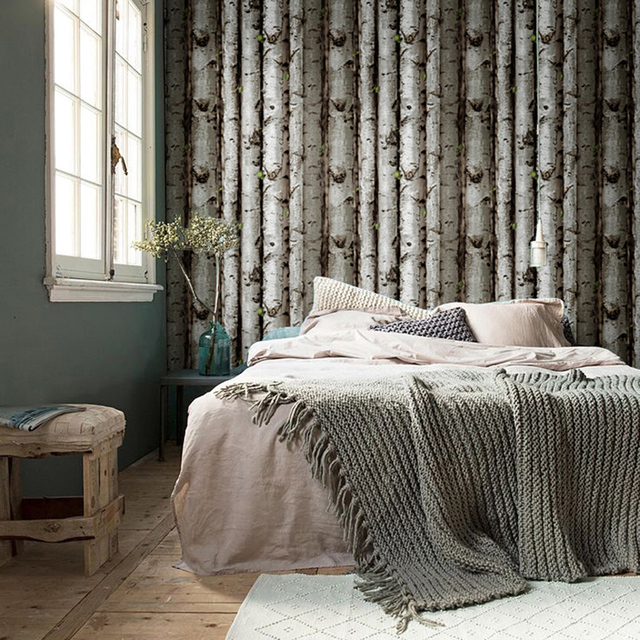 HaokHome Modern Birch Tree Wallpaper Lt.Grey w/Green leaves Textured Woods  Rolls Living