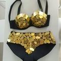 2015 handmade diy ouro prata lente lente copo corselets fundo pad twinset lantejoulas bra curto para a cantora DJ stage wear bodysuit
