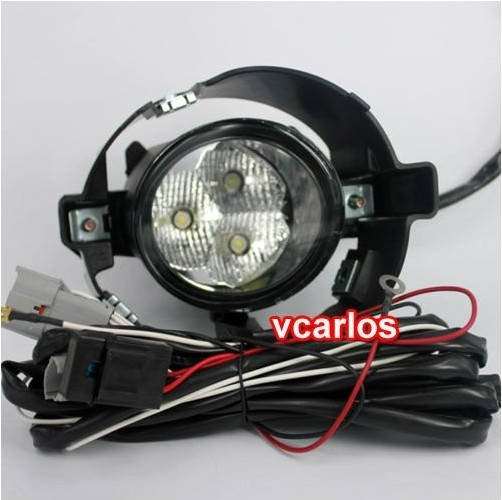 Vcarlos top quality LED fog lamp with harness, wiring kit and switch for NISSAN Micra MARCH 2010~ON for opel astra h gtc 2005 15 h11 wiring harness sockets wire connector switch 2 fog lights drl front bumper 5d lens led lamp