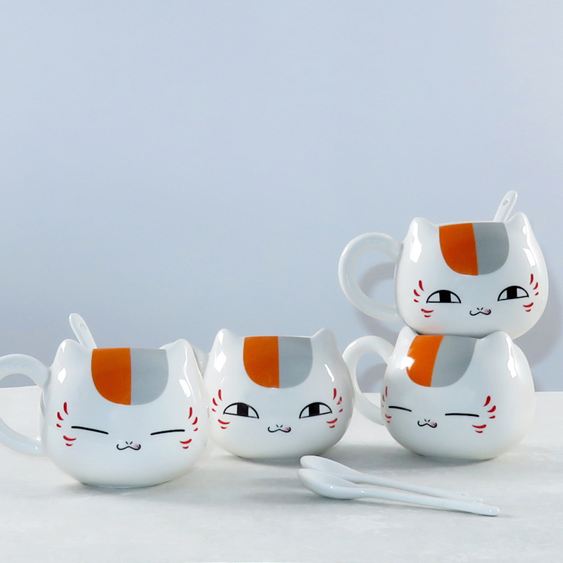Creative Natsume's Book of Friends Nyanko Sensei Cafe Face Cute Catroon Ceramic White Cat Belly Tea Cup Pottery Mug Gift