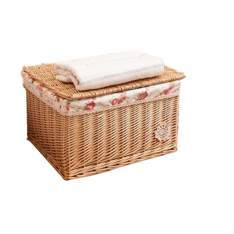Wicker Storage Baskets With Lids Decorative Square Covered Organizer